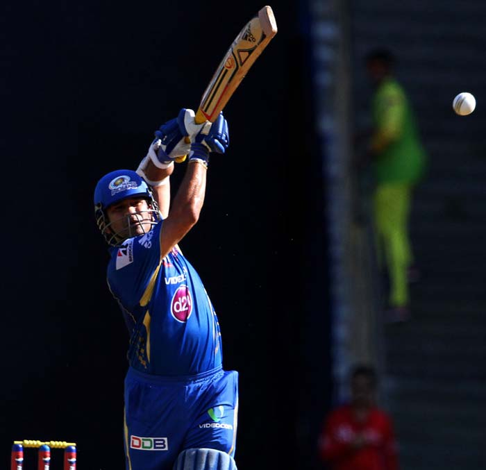 Sachin Tendulkar hit a six and a boundary but was also the first victim of the day. He scored 15 off 18. (BCCI image)