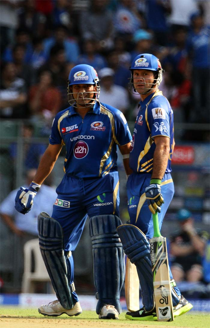 Sachin Tendulkar and Ricky Ponting opened the batting with much flourish, taking Mumbai past fifty inside seven overs at the Wankhede Stadium against Pune Warriors India. (BCCI image)