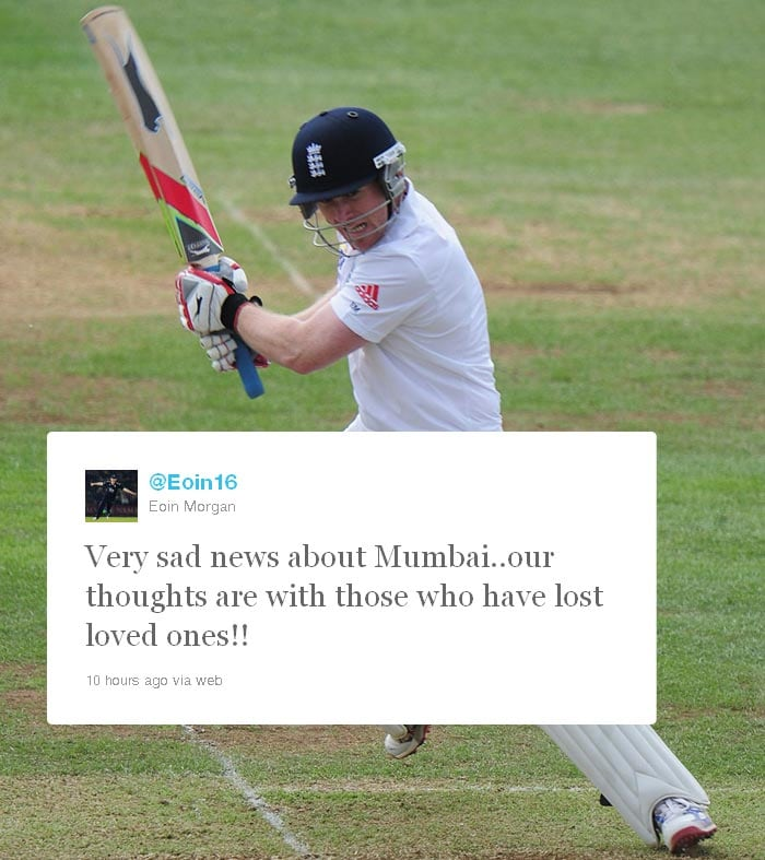 <b>Eoin Morgan:</b> England middle-order batsman wrote: Very sad news about Mumbai..our thoughts are with those who have lost loved ones!!