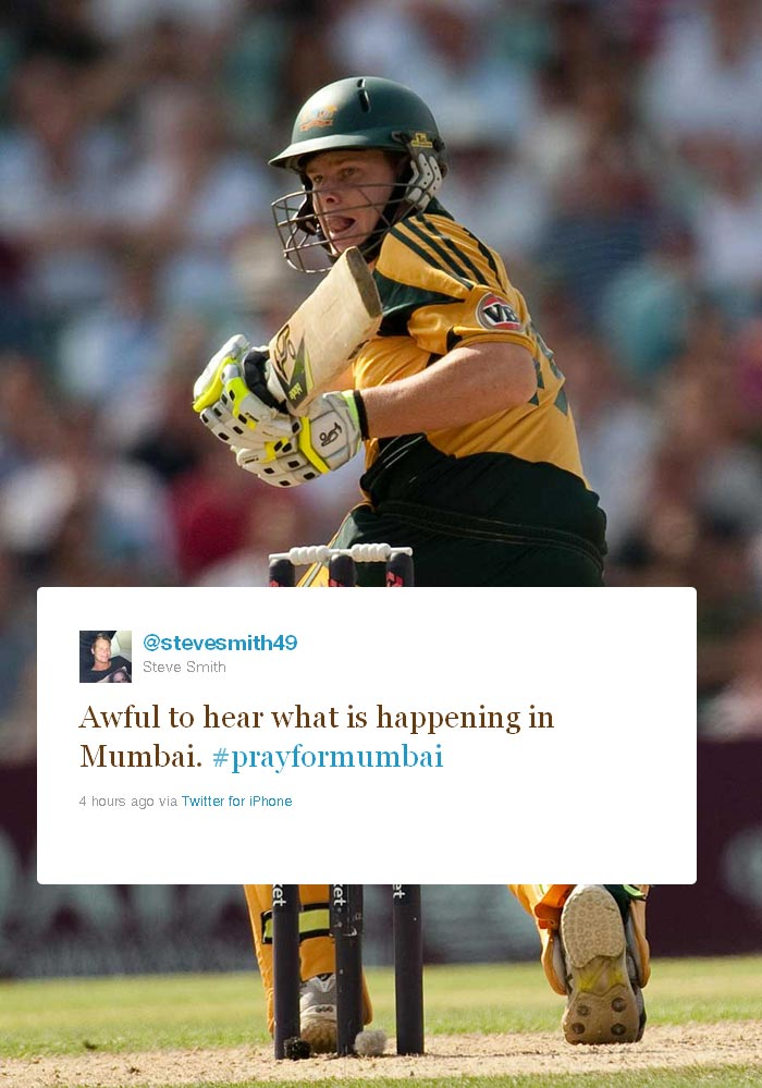 <b>Steve Smith:</b> Australian all-rounder who was bought by the Kochi Tuskers in the 2011 Indian Premier League auctions, kept his tweet simple.