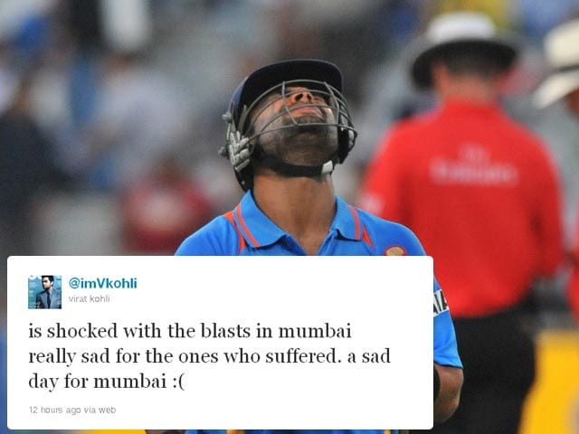 <b>Virat Kohli:</b> Indian batsman and part-time bowler expressed his grief saying: is shocked with the blasts in mumbai really sad for the ones who suffered. a sad day for mumbai :(
