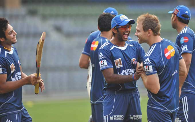 """The young-guns of the team interact at a training session. The general mood during the session was jovial and players looked at ease with one another. (Photo courtesy: <a href=""""http://www.mid-day.com//"""">Mid-day.com</a>)"""