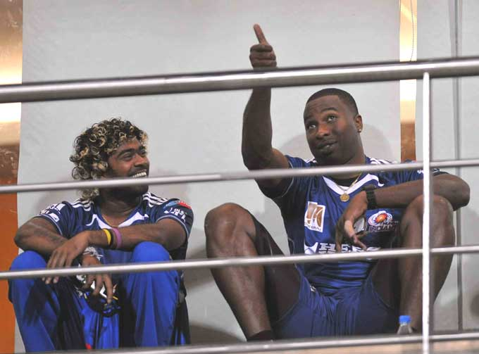 """Lasith Malinga and Keiron Pollard though seem oblivious of all else as they share a laugh in this photograph. Malinga will look to carry on his good form from the World Cup into the IPL. (Photo courtesy: <a href=""""http://www.mid-day.com//"""">Mid-day.com</a>)"""