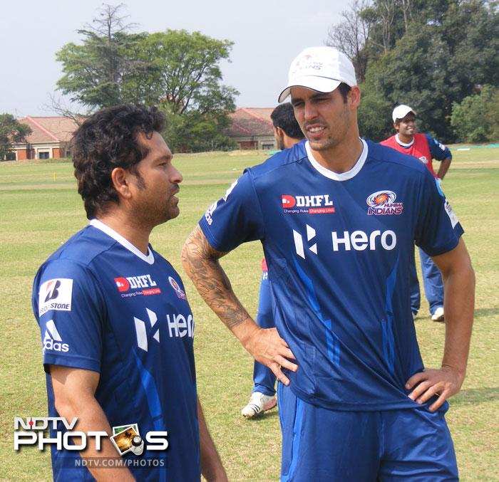 The veteran Indian batsman is seen here chatting with Aussie pacer Mitchell Johnson.