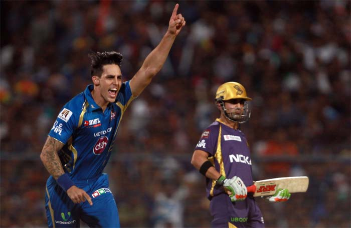 Mitchell Johnson struck in the next over of the innings and sent Pathan back. (BCCI image)