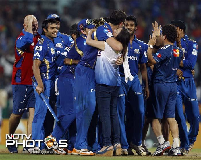It was celebrations for Mumbai in Chennai as team owner Nita Ambani receives a hug after the win.