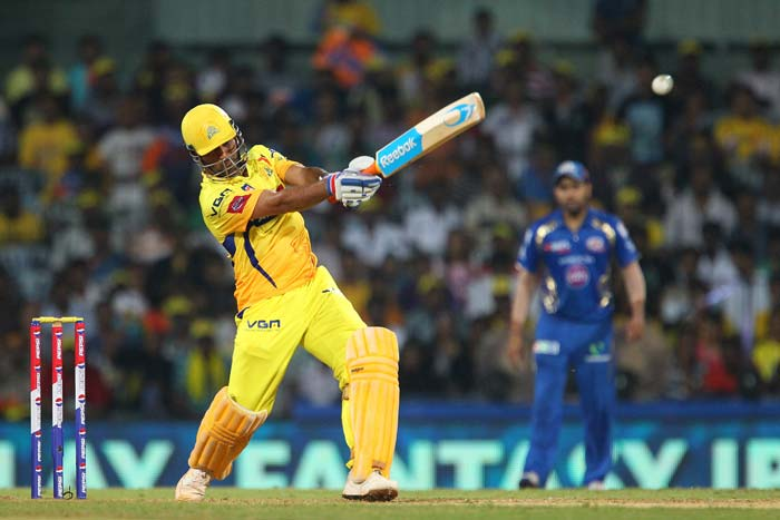 Skipper Mahendra Singh Dhoni was glued to the field, thrashed the ball, scored 51 off 26 balls which includes 5 boundaries and 3 sixes, but unfortunately got caught by Kieron Pollard in the last over and then the Mumbaikars grabbed a clear win.(BCCI Image)