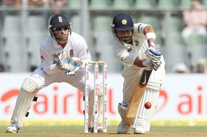 Much was expected from Virat Kohli and he started well too. But the lure of a boundary through the covers off a flighted Panesar delivery saw him being laped up by Nick Compton. (Photo Credit BCCI)