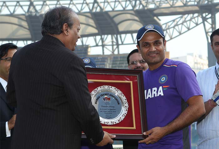 Virender Sehwag went into his 100th Test match with a small felicitation programme by the Mumbai Cricket Club in the morning at the Wankhede Stadium. (Photo Credit BCCI)