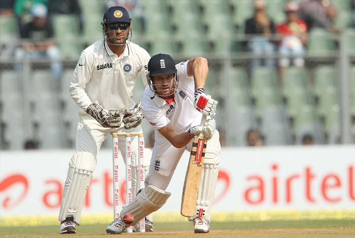 Nick Compton got England off to a patient, but steady, start. He rallied around skipper Alastair Cook for a 90-ball 29, but was ultimately done in by a beaty from Pragyan Ojha. (BCCI Photo)