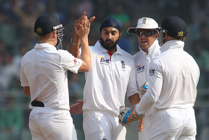 Monty Panesar picked up one more -- that of Ravichandran Ashwin's -- on Saturday morning to return with a five-wicket haul from the first innings at Wankhede. (BCCI Photo)