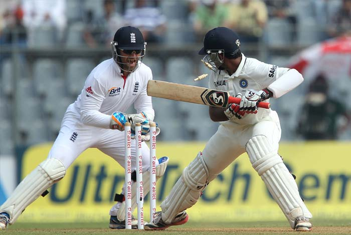 England finally managed to get Cheteshwar Pujara out for the first time in the series as the centurion was foxed by a Graeme Swann delivery. (BCCI Photo)