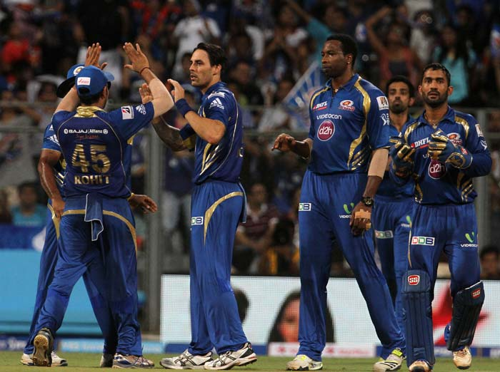 There was relief - rather than joy - on the faces of Mumbai Indians after the dismissal of Shikhar Dhawan. (BCCI image)