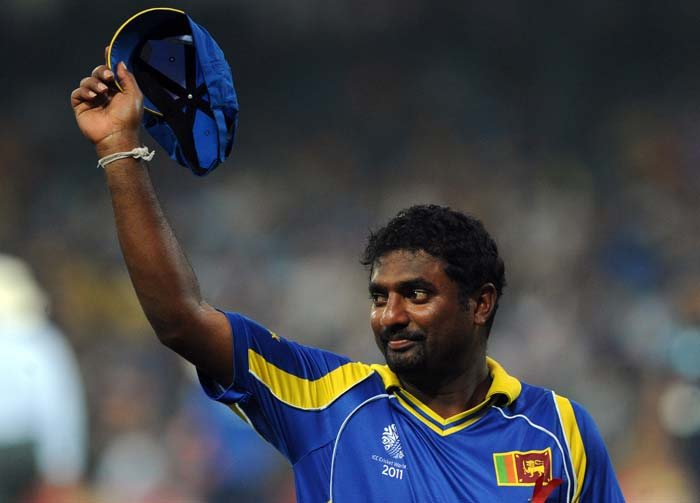 Record-breaking Sri Lankan spinner Muttiah Muralitharan celebrated his last ball in international cricket on home soil with a wicket in the World Cup semi-final that his team won by 5 wickets against New Zealand.