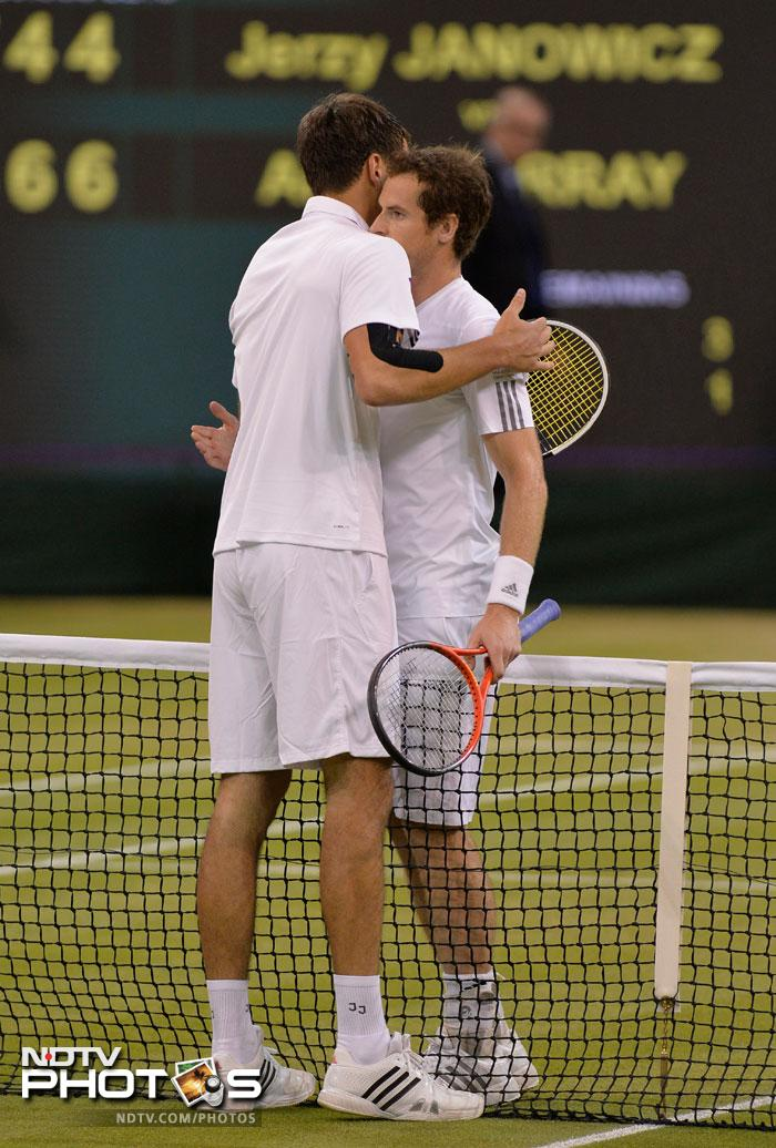 Murray was furious with Janowicz, who had been pleading for the roof to be shut, and referee Andrew Jarrett, claiming there was still time to finish the match in daylight. <br> But he returned to finish the job, sealing his second successive appearance in the All England Club final thanks to 20 aces and 18 winners in two hours and 52 minutes of nerve-wracking action.