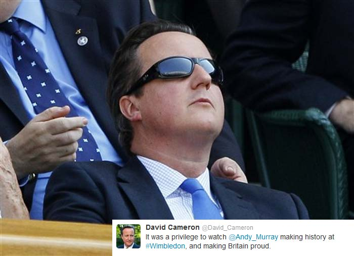 David Cameron (@David_Cameron): It was a privilege to watch @andy_murray making history at #Wimbledon, and making Britain proud.