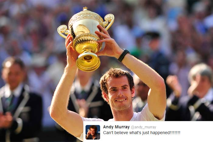 Andy Murray (@andy_murray): Can't believe what's just happened!!!!!!!