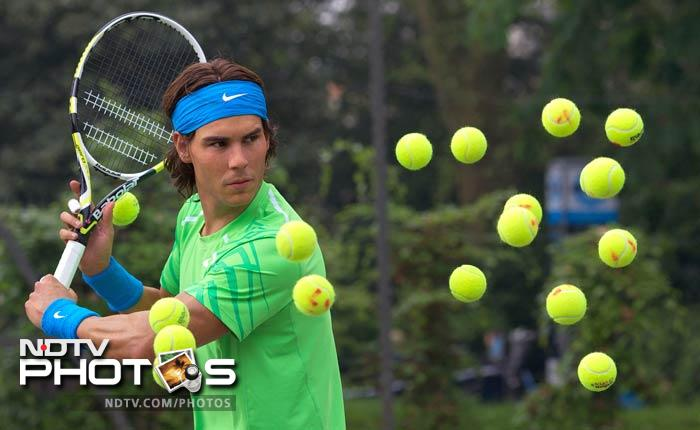 A new waxwork figure of World No. 2 tennis player Rafael Nadal is unveiled at a photocall in Regents Park in central London. (AFP Photo)