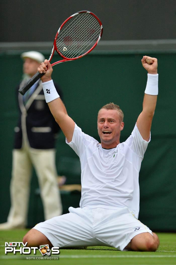 2002 Wimbledon champion LLeyton Hewitt battled the odds to storm into the second round. The Australian, who has been dogged by injuries in recent years, beat 11th seed Stanislas Wawrinka 6-4, 7-5 6-3.