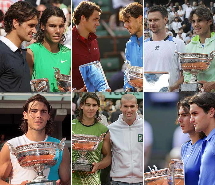Rafael Nadal equalled Bjorn Borg's record of six French Open titles with his 7-5, 7-6 (7/3), 5-7, 6-1 win over Roger Federer in the final at Roland Garros on Sunday. We take a look at the Spaniard's six wins in Paris.