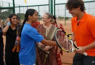 Nadal was seen giving invaluable tips to some budding tennis players from the academy.