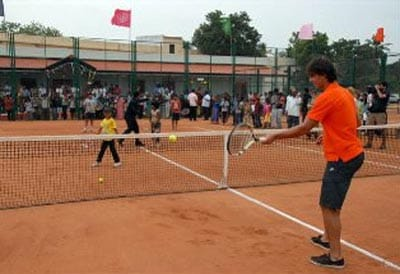 Nadal also interacted and played tennis with budding players.