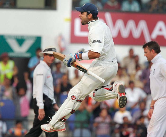 The Delhi batsman completed his century but was soon trapped before the wicket by Graeme Swann (unseen). (PTI image)