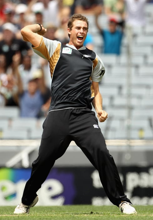 <b>TIM SOUTHEE</b><br><br> <b>Age: </b>22.<br><b>Role: </b>Right-hand batsman, Right-arm medium-fast bowler<br> <b>Stats: </b>ODIs 43, Runs 148, Highest 32, Average 9.25, Strike-Rate 87.57, Centuries 0, Fifties 0, Catches 7, Wickets 52, Best bowling 5-33, Average 35.38, Economy-Rate 5.43<br><br> Made his international debut as a 19-year-old and three years on, has assumed the mantle as New Zealand's leading ODI bowler. Particularly effective bowling at the death where he can deliver consistent yorkers.(Photo: Getty Images)