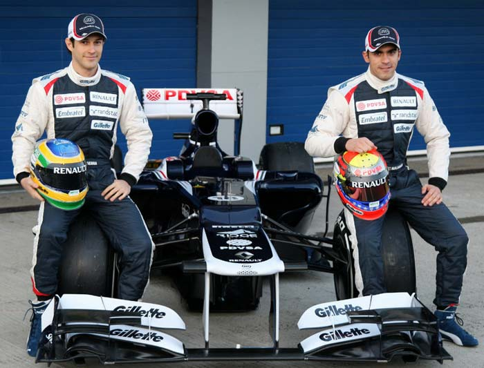 <b>Williams:</b> Having endured its worst season in F1 history, with only five points and a ninth-place finish in 2011, changes were expected in the Williams camp. Venezuelan Pastor Maldonado (R) nevertheless managed to keep his spot in the team but veteran Rubens Barrichello faced the axe that effectively ended F1's most experienced driver's formula one career. Williams have replaced Barrichello with Bruno Senna (L) who drove for Renualt in the latter half of the last season.