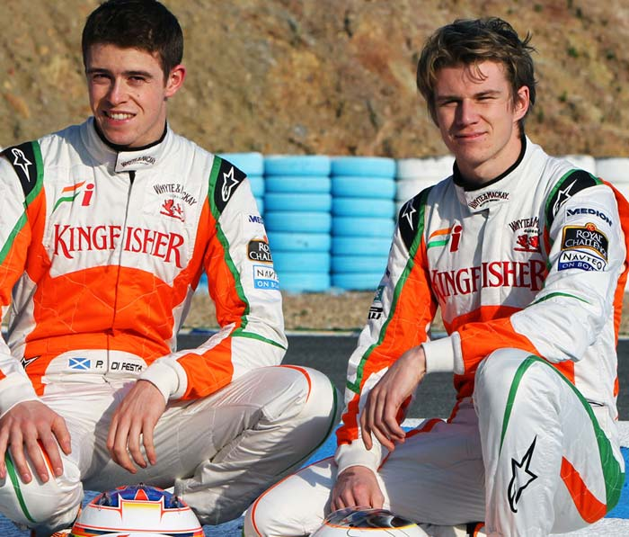 <b>Sahara Force India:</b> Paul di Resta (C), who made his F1 debut with the team in 2011, has retained his place in the team after finishing 13th in the drivers' standings and helping his team finish at the sixth spot. However, German Adrian Sutil, who had been with Force India since its inception in 2008, has been replaced by compatriot Nico Hulkenberg (R), a test driver with the team last season. Sutil has been left without a race seat despite finishing ninth in the 2011 season.