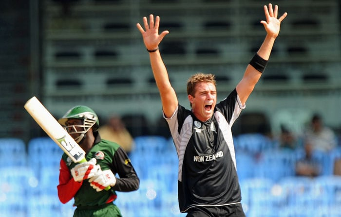 The tactic however did not pay off as Seren Waters was dismissed by New Zealand paceman Tim Southee. (AFP Photo)