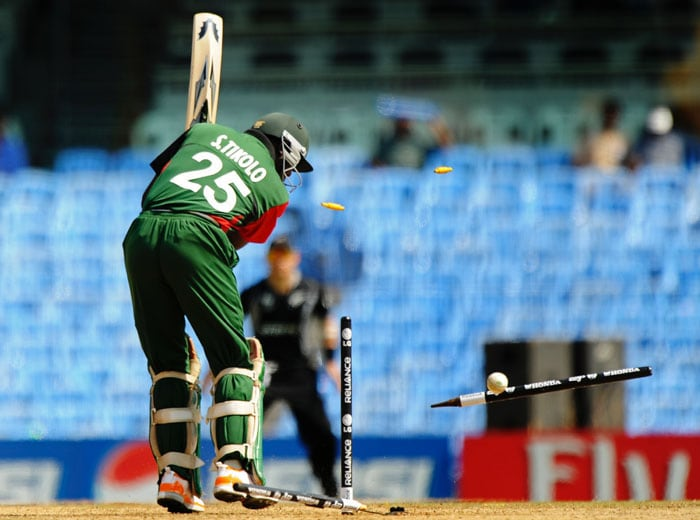 Kenyan top scorer in World Cups Steve Tikolo, was bowled out in emphatic fashion. (AFP Photo)