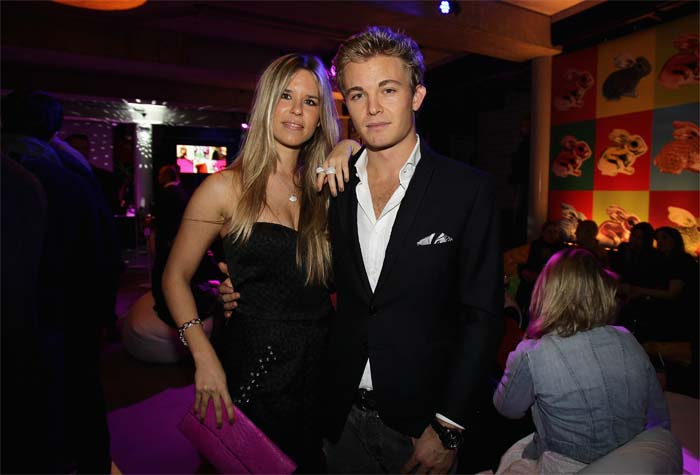 Formula 1 driver Nico Rosberg and partner Vivian Sibold attend the launch party of Thomas Sabo's Sterling Silver collection S/S 2011 at Soho House in December 2010 in Berlin, Germany. (Getty Image)