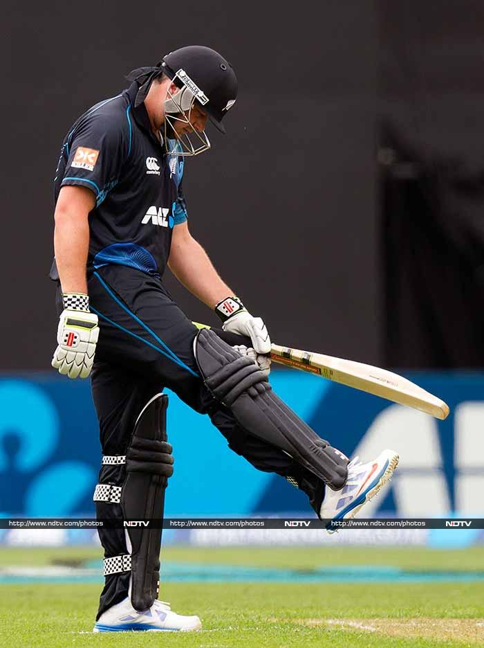 Jesse Ryder (17) was the first to fall when he was dislodged by Bhuvneshwar Kumar. <br><br>The other opener in Martin Guptill followed him back soon after on 16.