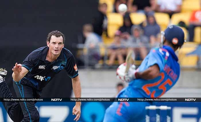 New Zealand bowlers peppered both openers with bouncers and success followed. <br><br>While Rohit fell to Kyle Mills on 4, Dhawan (right in pic) scored just 9 before leaving India tottering on 20/2.