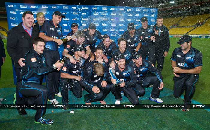 The New Zealand team in a mood for celebration after a convincing 4-0 win over India.