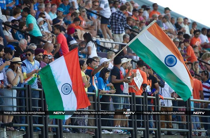 The relatively large contingent of Indian fans enjoyed the early dominance by their team.
