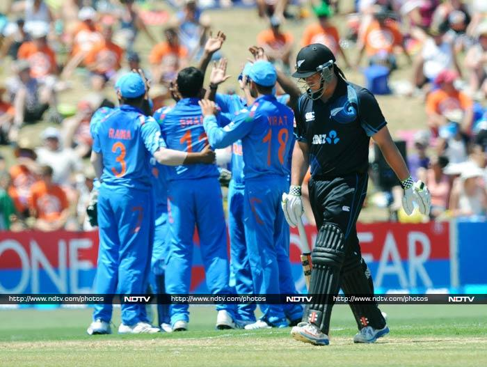 Ryder scored 18 off 16 but had to walk back in only the fourth over. <br><br>Fellow opener Martin Guptill too fell to Shami in the eight over.
