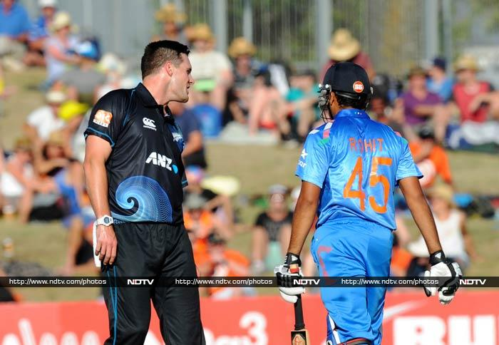 McClenaghan is seen giving lip-service to Rohit.