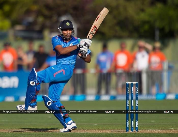 In reply, India's start was unfortunate as well. <br><br>Rohit Sharma played 23 deliveries for his 3 before surrendering to Mitchell McClenaghan.