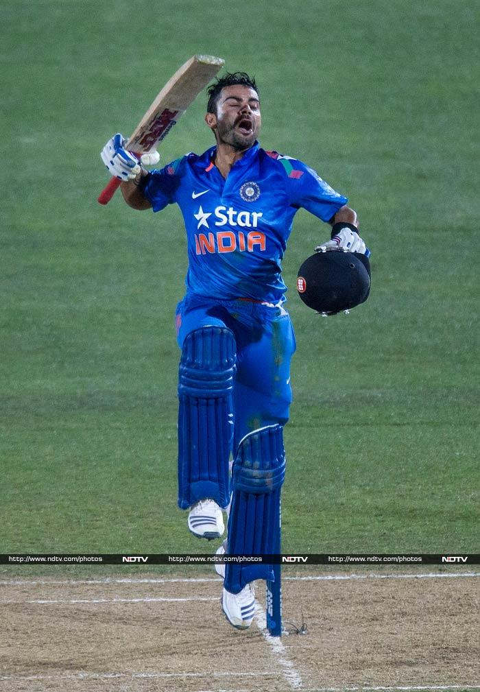 Kohli at the other end shifted gears as well, racing to his 18th ODI century off 93 deliveries. Just when it looked like he would take the match away from the Kiwis though, he was removed by McClenaghan.