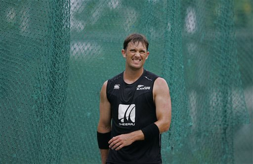 New Zealand's Shane Bond reacts during a practice session ahead of the triangular series in Colombo. (AP Photo)