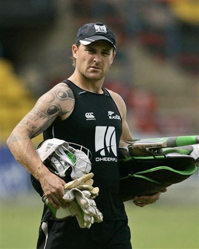 New Zealand's wicketkeeper Brendon McCullum walks with his gear during a practice session ahead of the triangular series in Colombo. (AP Photo)