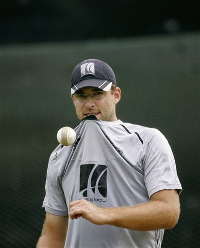 New Zealand's captain Daniel Vettori gestures during a practice session ahead of the triangular series in Colombo. (AP Photo)