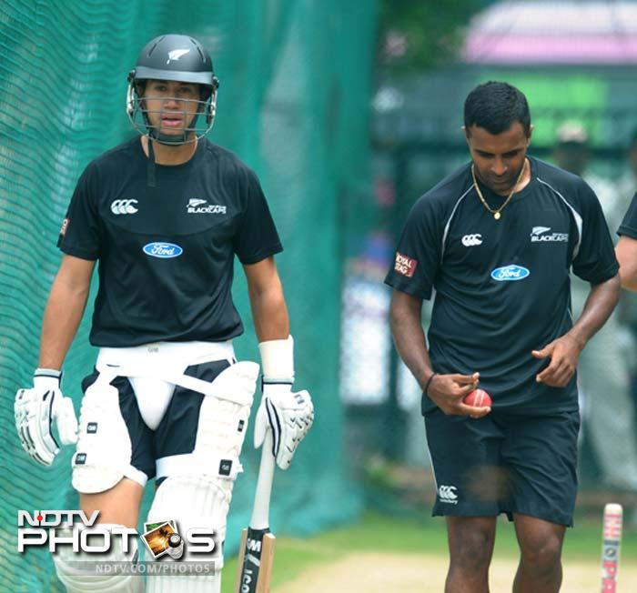 Taylor will lead New Zealand with the first Test against India starting August 23. He is seen here with Tarun Nethula.