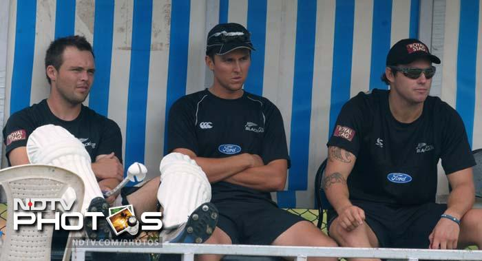 New Zealand cricketers (L-R) Daniel Flynn, Trent Boult, and Doug Bracewell during the training session.
