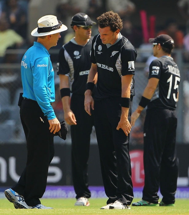 The lone sore point for the Kiwis came when their new ball bowler Kyle Mills had to retire during only his 3rd over. He had bowled beautifully until then.