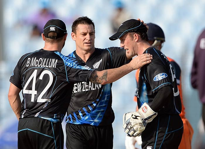 Nathan McCullum was the pick of the Kiwi bowlers, finishing with figures of 1/20.