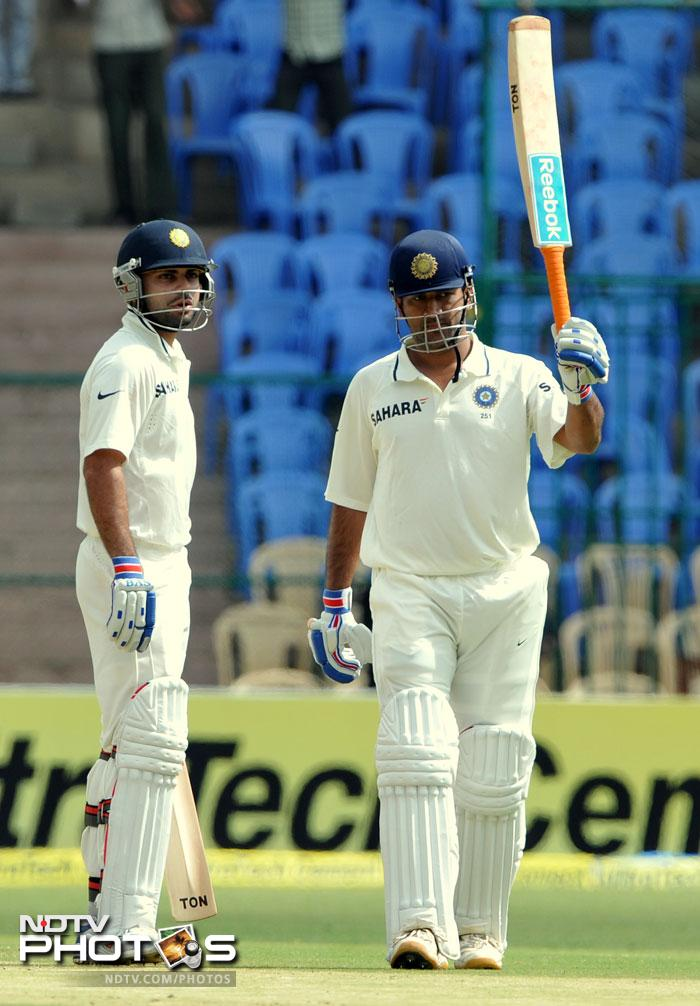 Skipper Mahendra Singh Dhoni too reached his fifty. This was his 26th half-century in Test matches, fifth against New Zealand. He too was Lbw out to Tim Southee.