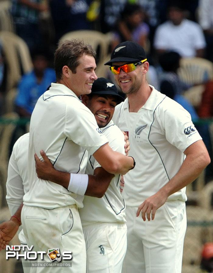Tim Southee produced the performance of his life to take 7/64 in 24 overs and skittle India out for 353, 12 runs short of the Kiwi first innings total.